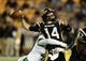 Oct 26, 2013; Hattiesburg, MS, USA; Southern Miss Golden Eagles quarterback Nick Mullens (14) is hit by North Texas Mean Green defensive end Chad Polk (42) in the second half of their game at M.M. Roberts Stadium. North Texas won, 55-14. Mandatory Credit: Chuck Cook-USA TODAY Sports