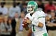 Oct 26, 2013; Hattiesburg, MS, USA; North Texas Mean Green quarterback Derek Thompson (7) prepares to throw the ball in the first quarter against the Southern Miss Golden Eagles at M.M. Roberts Stadium. North Texas won 55-14. Mandatory Credit: Chuck Cook-USA TODAY Sports
