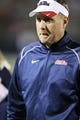 Oct 26, 2013; Oxford, MS, USA;  Mississippi Rebels head coach Hugh Freeze after the game against the Idaho Vandals at Vaught-Hemingway Stadium. Mississippi Rebels win the game against the Idaho Vandals with a score of 59-14.  Mandatory Credit: Spruce Derden-USA TODAY Sports