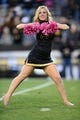 Oct 26, 2013; Boulder, CO, USA; Colorado Buffaloes cheerleader performs in the first quarter against the Arizona Wildcats at Folsom Field. Mandatory Credit: Ron Chenoy-USA TODAY Sports