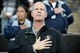 Oct 26, 2013; Boulder, CO, USA; Colorado Buffaloes basketball coach Tad Boyle during the national anthem before the football game against the Arizona Wildcats at Folsom Field. The Wildcats defeated the Buffaloes 44-20. Mandatory Credit: Ron Chenoy-USA TODAY Sports