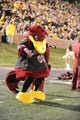 Oct 26, 2013; Columbia, MO, USA; The South Carolina Gamecocks mascot performs for the crowd during the second of the game against the Missouri Tigers half at Faurot Field. South Carolina won 27-24. Mandatory Credit: Denny Medley-USA TODAY Sports