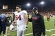 Oct 26, 2013; Corvallis, OR, USA; Stanford Cardinal offensive tackle Kyle Murphy (94) and head coach David Shaw walk off the field after defeating Oregon State Beavers at Reser Stadium. Stanford defeated Oregon State 20-12. Mandatory Credit: Steven Bisig-USA TODAY Sports