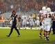 Oct 26, 2013; San Diego, CA, USA; San Diego State kicker Seamus McMorrow (17) reacts after missing a game-winning field goal attempt in the fourth quarter against the Fresno State Bulldogs at Qualcomm Stadium. Mandatory Credit: Christopher Hanewinckel-USA TODAY Sports
