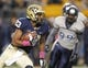 Oct 19, 2013; Pittsburgh, PA, USA; Pittsburgh Panthers wide receiver Tyler Boyd (23) runs the ball against the Old Dominion Monarchs during the first quarter at Heinz Field.  Pittsburgh won 35-24. Mandatory Credit: Charles LeClaire-USA TODAY Sports