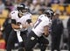 Oct 20, 2013; Pittsburgh, PA, USA; Baltimore Ravens quarterback Joe Flacco (5) hands the ball off to running back Ray Rice (27) against the Pittsburgh Steelers during the third quarter at Heinz Field. The Steelers won 19-16. Mandatory Credit: Charles LeClaire-USA TODAY Sports