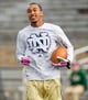 Oct 19, 2013; South Bend, IN, USA; Notre Dame Fighting Irish wide receiver TJ Jones warms up before the game against the USC Trojans at Notre Dame Stadium. Notre Dame won 14-10. Mandatory Credit: Matt Cashore-USA TODAY Sports