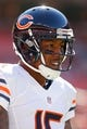Oct 20, 2013; Landover, MD, USA; Chicago Bears wide receiver Brandon Marshall (15) stands on the field during warm ups prior to the Bears game against the Washington Redskins at FedEx Field. Mandatory Credit: Geoff Burke-USA TODAY Sports