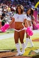 Oct 20, 2013; Landover, MD, USA; Washington Redskins cheerleaders dance on the field against the Chicago Bears at FedEx Field. Mandatory Credit: Geoff Burke-USA TODAY Sports