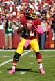 Oct 20, 2013; Landover, MD, USA; Washington Redskins quarterback Robert Griffin III (10) prepares to throw the ball against the Chicago Bears at FedEx Field. Mandatory Credit: Geoff Burke-USA TODAY Sports