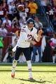 Oct 20, 2013; Landover, MD, USA; Chicago Bears quarterback Josh McCown (12) throws the ball against the Washington Redskins at FedEx Field. Mandatory Credit: Geoff Burke-USA TODAY Sports