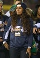 Oct 19, 2013; South Bend, IN, USA; Notre Dame Fighting Irish former womens basketball player Skylar Diggins attends the football game against the Southern California Trojans at Notre Dame Stadium.  Mandatory Credit: Kirby Lee-USA TODAY Sports