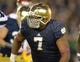 Oct 19, 2013; South Bend, IN, USA; Notre Dame Fighting Irish defensive lineman Stephon Tuitt (7) during the game against the Southern California Trojans at Notre Dame Stadium. Notre Dame defeated USC 14-10. Mandatory Credit: Kirby Lee-USA TODAY Sports