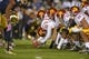 Oct 19, 2013; South Bend, IN, USA; General view of the line of scrimmage as Southern California Trojans long snapper Zach Smith (60) snaps the ball against the Notre Dame Fighting Irish at Notre Dame Stadium. Notre Dame defeated USC 14-10. Mandatory Credit: Kirby Lee-USA TODAY Sports