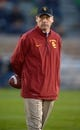 Oct 19, 2013; South Bend, IN, USA; Southern California Trojans defensive coordinator Clancy Pendergast during the game against the Notre Dame Fighting Irish at Notre Dame Stadium. Notre Dame defeated USC 14-10. Mandatory Credit: Kirby Lee-USA TODAY Sports