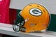 Oct 13, 2013; Baltimore, MD, USA; Green Bay Packers helmet awaits use before the game against the Baltimore Ravens at M&T Bank Stadium. Mandatory Credit: Mitch Stringer-USA TODAY Sports