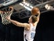 Oct 19, 2013; Greensboro, NC, USA; Charlotte Bobcats forward Cody Zeller (40) drives to the basket and scores during the game against the Dallas Mavericks at the Greensboro Coliseum. Mavericks win 89-83. Mandatory Credit: Sam Sharpe-USA TODAY Sports