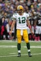 Oct 13, 2013; Baltimore, MD, USA; Green Bay Packers quarterback Aaron Rodgers (12) runs the offense against the Baltimore Ravens at M&T Bank Stadium. Mandatory Credit: Mitch Stringer-USA TODAY Sports