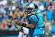 Oct 20, 2013; Charlotte, NC, USA; Carolina Panthers quarterback Cam Newton (1) during the game against the St. Louis Rams at Bank of America Stadium. Panthers win 30-15. Mandatory Credit: Sam Sharpe-USA TODAY Sports