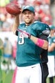 Oct 13, 2013; Tampa, FL, USA; Philadelphia Eagles quarterback Nick Foles (9) on the sidelines against theTampa Bay Buccaneers during the second half at Raymond James Stadium. Philadelphia Eagles defeated the Tampa Bay Buccaneers 31-20. Mandatory Credit: Kim Klement-USA TODAY Sports