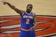 Oct 11, 2013; Toronto, Ontario, CAN; New York Knicks point guard Raymond Felton (2) against the Toronto Raptors at Air Canada Centre. The Raptors beat the Knicks 100-91. Mandatory Credit: Tom Szczerbowski-USA TODAY Sports