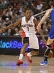 Oct 11, 2013; Toronto, Ontario, CAN; Toronto Raptors point guard Kyle Lowry (7) dribbles against the New York Knicks at Air Canada Centre. The Raptors beat the Knicks 100-91. Mandatory Credit: Tom Szczerbowski-USA TODAY Sports