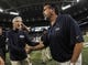 Oct 28, 2013; St. Louis, MO, USA;  Seattle Seahawks head coach Pete Carroll and St. Louis Rams head coach Jeff Fisher shake hands after the game between the St. Louis Rams and the Seattle Seahawks at Edward Jones Dome. The Seahawks defeat the Rams 14-9. Mandatory Credit: Jasen Vinlove-USA TODAY Sports
