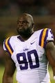 Oct 19, 2013; Oxford, MS, USA; LSU Tigers defensive tackle Anthony Johnson (90) during the game against the Mississippi Rebels at Vaught-Hemingway Stadium. Mississippi Rebels defeat the LSU Tigers 27-24.  Mandatory Credit: Spruce Derden-USA TODAY Sports