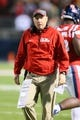 Oct 19, 2013; Oxford, MS, USA; Mississippi Rebels head coach Hugh Freeze during the game against the LSU Tigers at Vaught-Hemingway Stadium. Mississippi Rebels defeat the LSU Tigers 27-24.  Mandatory Credit: Spruce Derden-USA TODAY Sports