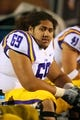 Oct 19, 2013; Oxford, MS, USA; LSU Tigers guard Fehoko Fanaika (69) during the game against the Mississippi Rebels at Vaught-Hemingway Stadium. Mississippi Rebels defeat the LSU Tigers 27-24.  Mandatory Credit: Spruce Derden-USA TODAY Sports