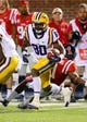 Oct 19, 2013; Oxford, MS, USA; LSU Tigers wide receiver Jarvis Landry (80) advances the ball during the game against the Mississippi Rebels at Vaught-Hemingway Stadium. Mississippi Rebels defeat the LSU Tigers 27-24.  Mandatory Credit: Spruce Derden-USA TODAY Sports