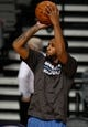 Oct 24, 2013; Auburn Hills, MI, USA; Minnesota Timberwolves power forward Derrick Williams (7) warms up before the game against the Detroit Pistons at The Palace of Auburn Hills. Mandatory Credit: Raj Mehta-USA TODAY Sports
