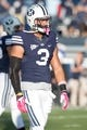 Oct 25, 2013; Provo, UT, USA; Brigham Young Cougars linebacker Kyle Van Noy (3) prior to a game against the Boise State Broncos  at Lavell Edwards Stadium. Brigham Young won 37-20. Mandatory Credit: Russ Isabella-USA TODAY Sports