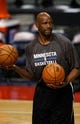 Oct 24, 2013; Auburn Hills, MI, USA; Minnesota Timberwolves assistant coach Terry Porter helps players warm up before the game against the Detroit Pistons at The Palace of Auburn Hills. Mandatory Credit: Raj Mehta-USA TODAY Sports