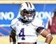 Oct 19, 2013; Tempe, AZ, USA; Washington Huskies wide receiver Jaydon Mickens (4) during the game against the Arizona State Sun Devils at Sun Devil Stadium. Mandatory Credit: Matt Kartozian-USA TODAY Sports
