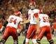Oct 19, 2013; Tucson, AZ, USA; Utah Utes quarterback Travis Wilson (7) smiles in between plays during the second quarter against the Arizona Wildcats at Arizona Stadium. Arizona beat Utah 35-44. Mandatory Credit: Casey Sapio-USA TODAY Sports