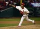 Oct 26, 2013; St. Louis, MO, USA; St. Louis Cardinals relief pitcher Carlos Martinez throws a pitch against the Boston Red Sox in the 8th inning during game three of the MLB baseball World Series at Busch Stadium. Mandatory Credit: Scott Rovak-USA TODAY Sports