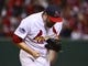 Oct 27, 2013; St. Louis, MO, USA; St. Louis Cardinals starting pitcher Lance Lynn reacts during game four of the MLB baseball World Series against the Boston Red Sox at Busch Stadium. Mandatory Credit: Scott Rovak-USA TODAY Sports