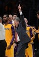 Oct 29, 2013; Los Angeles, CA, USA; Los Angeles Lakers head coach Mike D'Antoni walks off the court at the end of the game against the Los Angeles Clippers at the at Staples Center. Lakers won 116-103. Mandatory Credit: Jayne Kamin-Oncea-USA TODAY Sports