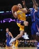 Oct 29, 2013; Los Angeles, CA, USA;   Los Angeles Lakers point guard Jordan Farmar (1) drives past Los Angeles Clippers center DeAndre Jordan (6) in the second half of the game at the Staples Center. Lakers won 116-103. Mandatory Credit: Jayne Kamin-Oncea-USA TODAY Sports