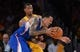 Oct 29, 2013; Los Angeles, CA, USA;   Los Angeles Lakers shooting guard Wesley Johnson (11) guards Los Angeles Clippers small forward Matt Barnes (22) in the second half of the game at the Staples Center. Lakers won 116-103. Mandatory Credit: Jayne Kamin-Oncea-USA TODAY Sports