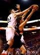 Oct 30, 2013; Phoenix, AZ, USA; Phoenix Suns center Miles Plumlee (22) blocks the shot of Portland Trail Blazers center Robin Lopez in the first quarter at US Airways Center. Mandatory Credit: Mark J. Rebilas-USA TODAY Sports
