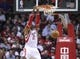 Oct 30, 2013; Houston, TX, USA; Houston Rockets center Dwight Howard (12) dunks the ball during the fourth quarter against the Charlotte Bobcats at Toyota Center. Mandatory Credit: Troy Taormina-USA TODAY Sports