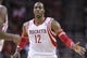 Oct 30, 2013; Houston, TX, USA; Houston Rockets center Dwight Howard (12) is congratulated after scoring a basket during the fourth quarter against the Charlotte Bobcats at Toyota Center. The Rockets defeated the Bobcats 96-83. Mandatory Credit: Troy Taormina-USA TODAY Sports