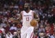 Oct 30, 2013; Houston, TX, USA; Houston Rockets shooting guard James Harden (13) controls the ball during the first quarter against the Charlotte Bobcats at Toyota Center. Mandatory Credit: Troy Taormina-USA TODAY Sports