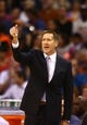 Oct 30, 2013; Phoenix, AZ, USA; Phoenix Suns head coach Jeff Hornacek reacts in the first half against the Portland Trail Blazers at US Airways Center. Mandatory Credit: Mark J. Rebilas-USA TODAY Sports