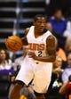 Oct 30, 2013; Phoenix, AZ, USA; Phoenix Suns guard Eric Bledsoe (2) controls the ball against the Portland Trail Blazers in the first half at US Airways Center. Mandatory Credit: Mark J. Rebilas-USA TODAY Sports
