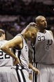 Oct 30, 2013; San Antonio, TX, USA; San Antonio Spurs forward Boris Diaw (33) pats teammate Tony Parker (9) on the head during the second half against the Memphis Grizzlies at AT&T Center. The Spurs won 101-94. Mandatory Credit: Soobum Im-USA TODAY Sports