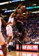 Oct 30, 2013; Phoenix, AZ, USA; Portland Trail Blazers guard Damian Lillard drives to the basket in the second quarter against the Phoenix Suns at US Airways Center. The Suns defeated the Blazers 104-91. Mandatory Credit: Mark J. Rebilas-USA TODAY Sports