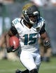 Sep 15, 2013; Oakland, CA, USA; Jacksonville Jaguars receiver Stephon Burton (15) carries the ball against the Oakland Raiders at O.co Coliseum. The Raiders defeated the Jaguars 19-9. Mandatory Credit: Kirby Lee-USA TODAY Sports